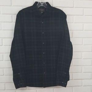 Black Brown 1826 Plaid Cotton Button Down Shirt